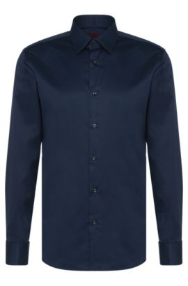 Camisa regular fit en algodón con puño doble: 'C-George', Azul oscuro