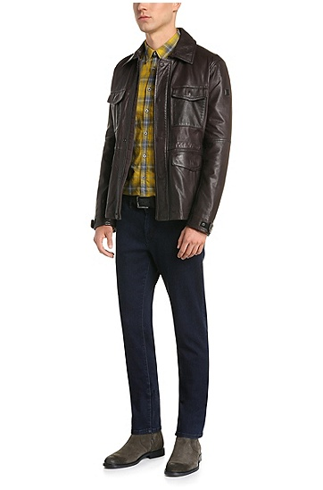 Slim-fit field jacket in leather: 'Jicasso', Dark Brown