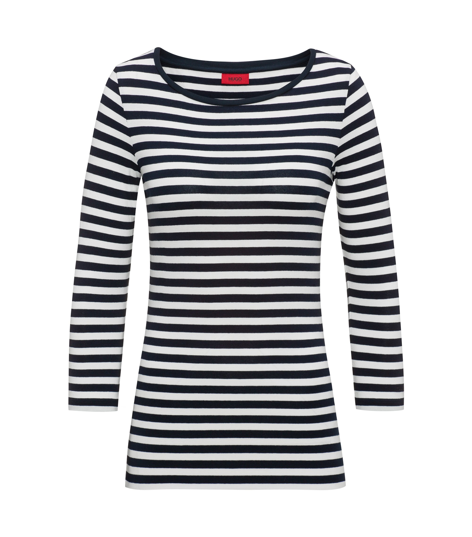 Slim-fit striped jersey T-shirt with boat neckline, Dark Blue