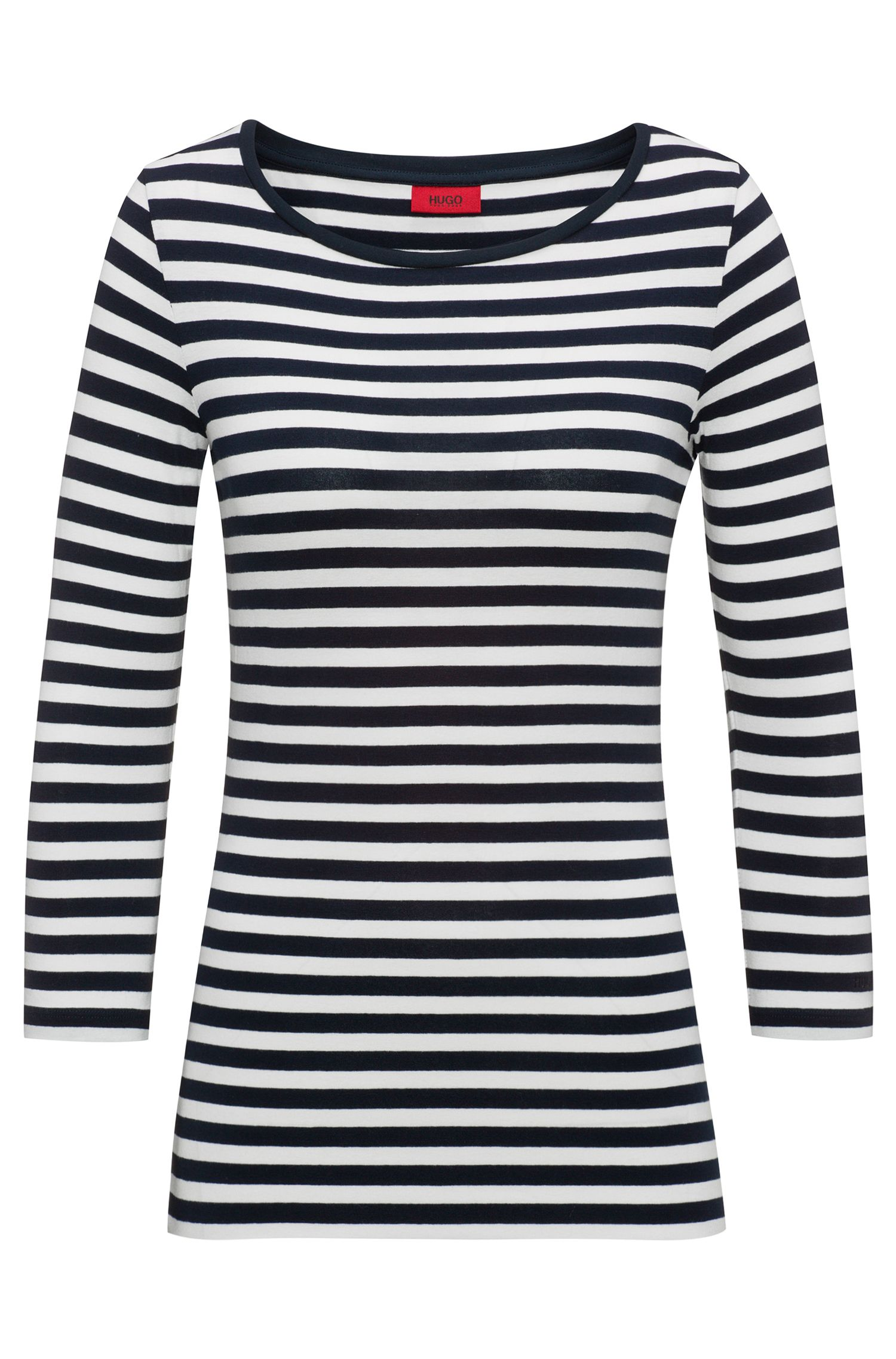 Slim-fit striped jersey T-shirt with boat neckline