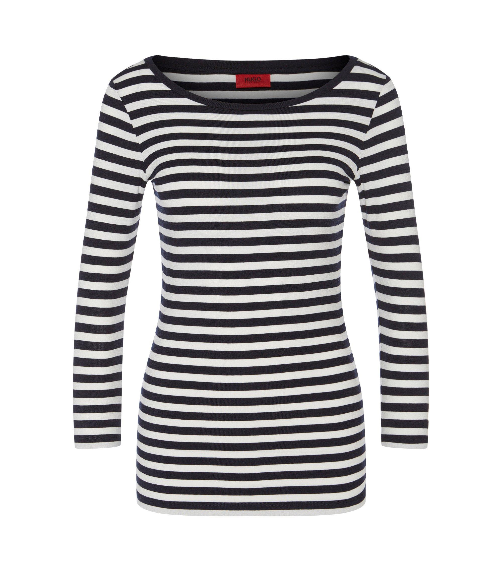 T-shirt Slim Fit en jersey à rayures, à encolure bateau, Fantaisie