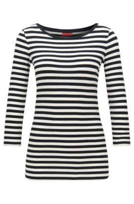 Slim-fit striped jersey T-shirt with boat neckline, Patterned