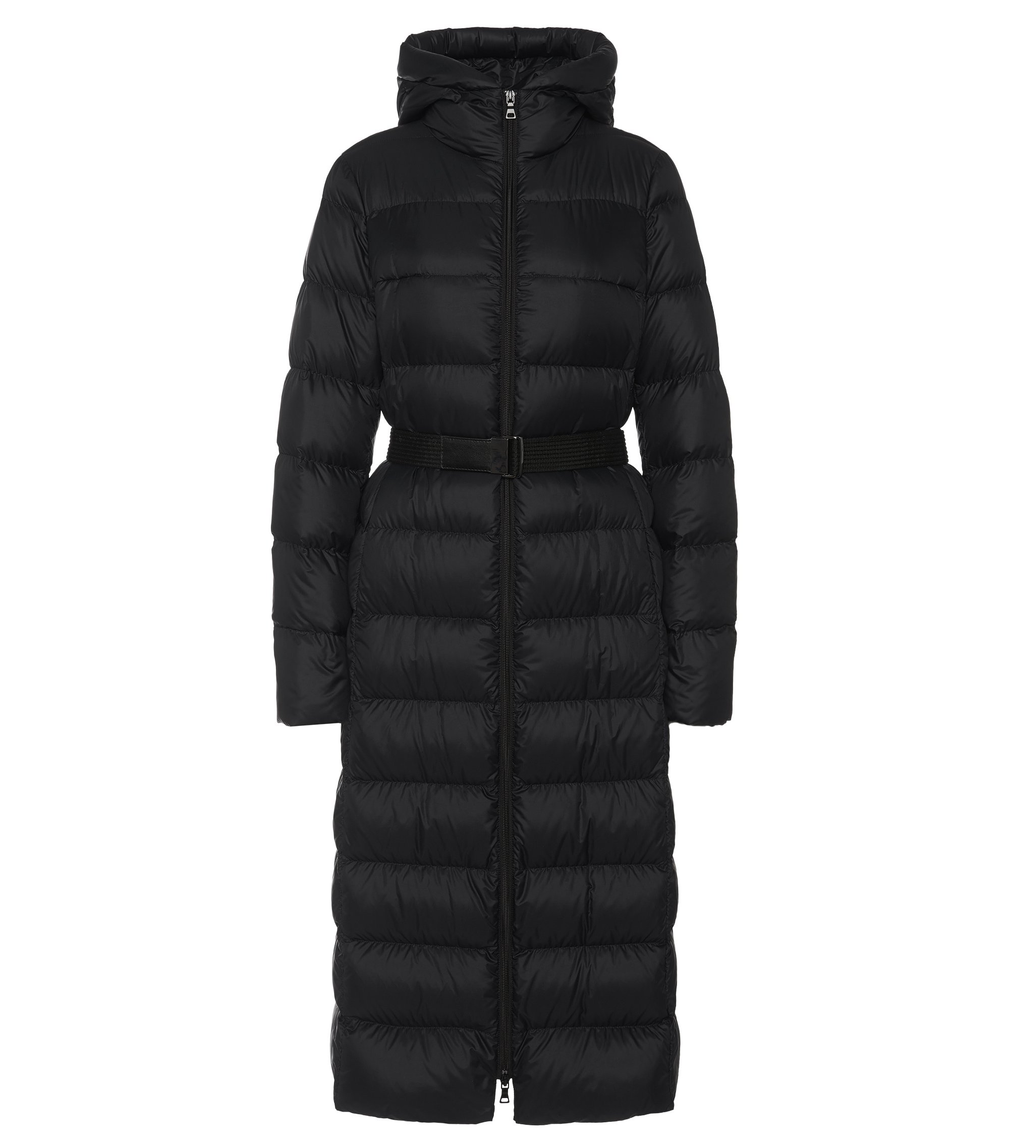 Long quilted coat with wrap belt: 'Poglia', Black