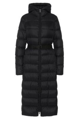 Manteau doudoune long avec ceinture à nouer: «Poglia», Noir