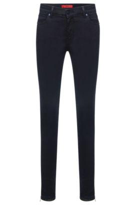 Jeans Skinny Fit en coton mélangé extensible présentant une coupe raccourcie: «Gilljana/9», Bleu foncé