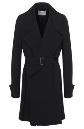 Coat with asymmetric front yoke: 'Celiana', Black