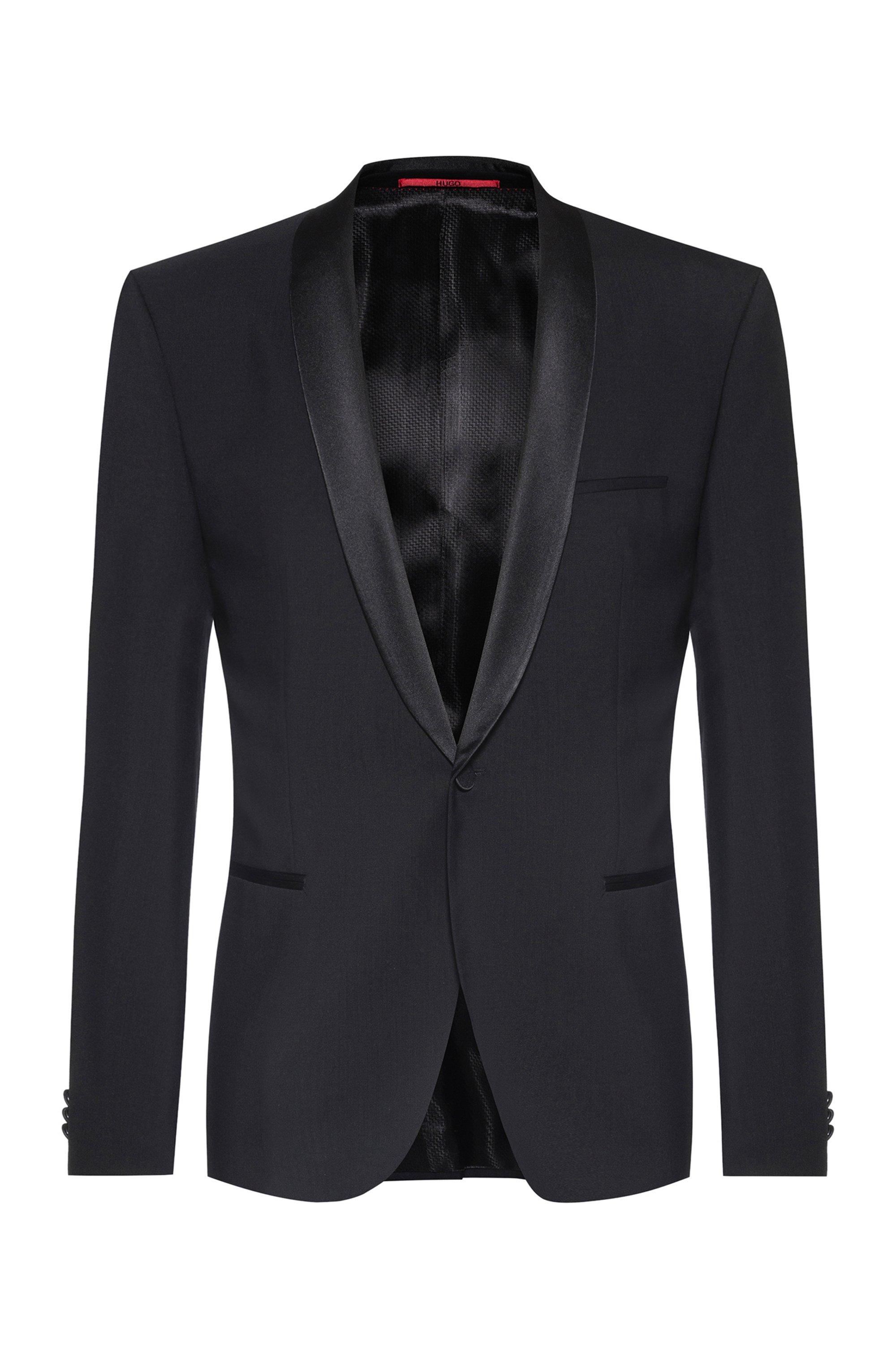 Veste de smoking Slim Fit avec finitions en soie, Noir