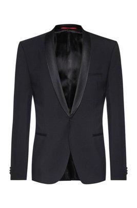 Chaqueta de esmoquin slim fit con detalles de seda, Negro