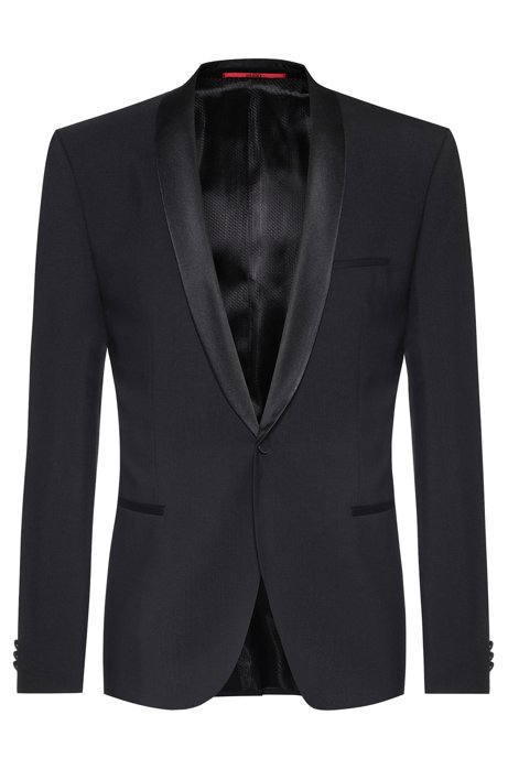 Slim-fit dinner jacket with silk facings, Black