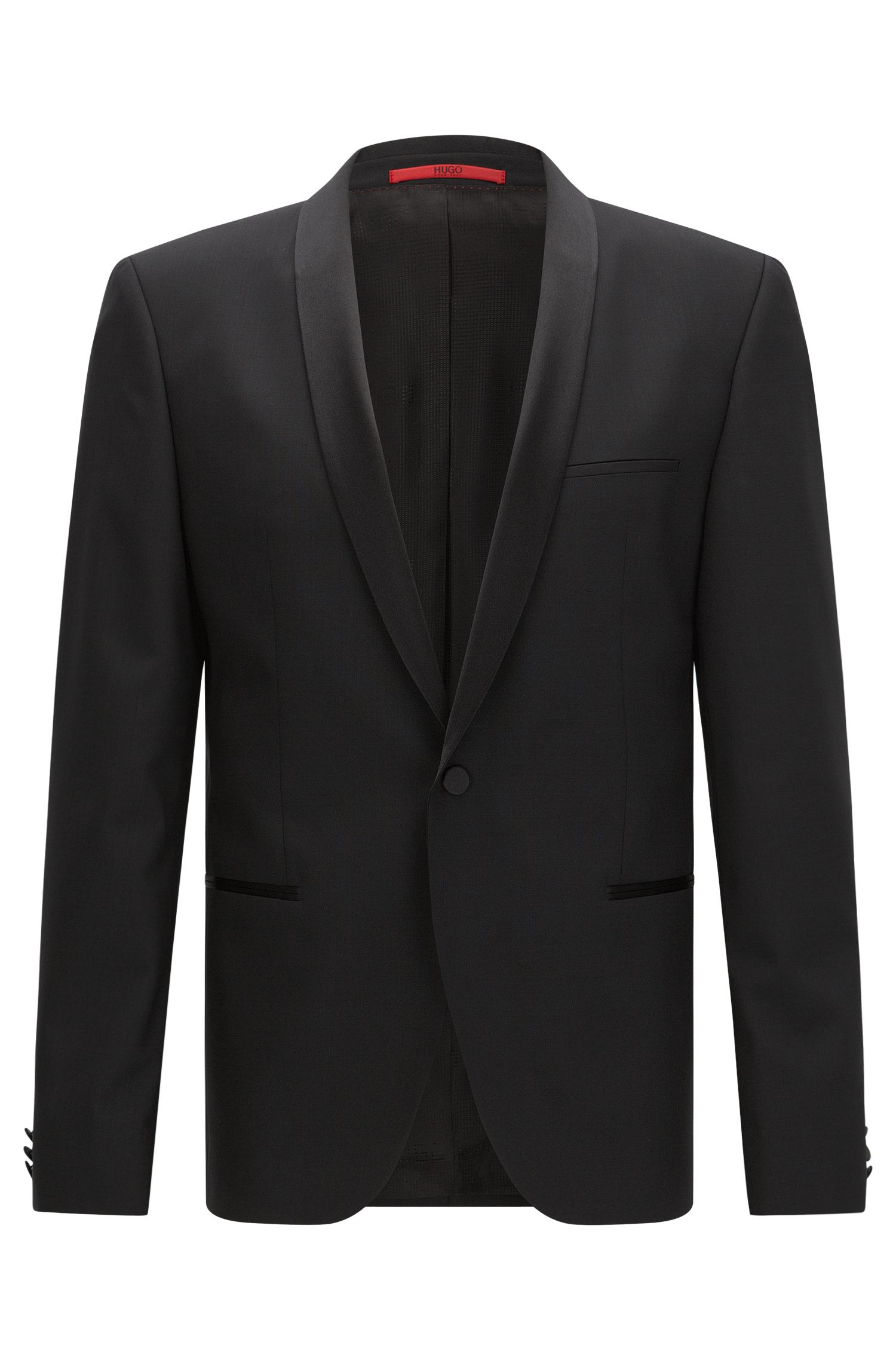 Slim-fit dinner jacket with silk trim by HUGO Man