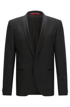 Slim-fit dinner jacket with silk trim by HUGO Man, Black