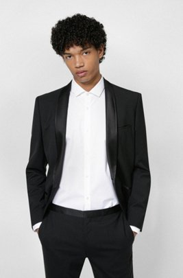 Slim-fit dinner jacket with silk trim, Black
