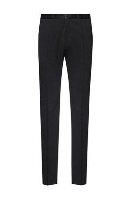 Pantalones extra slim fit con vistas de seda, Negro