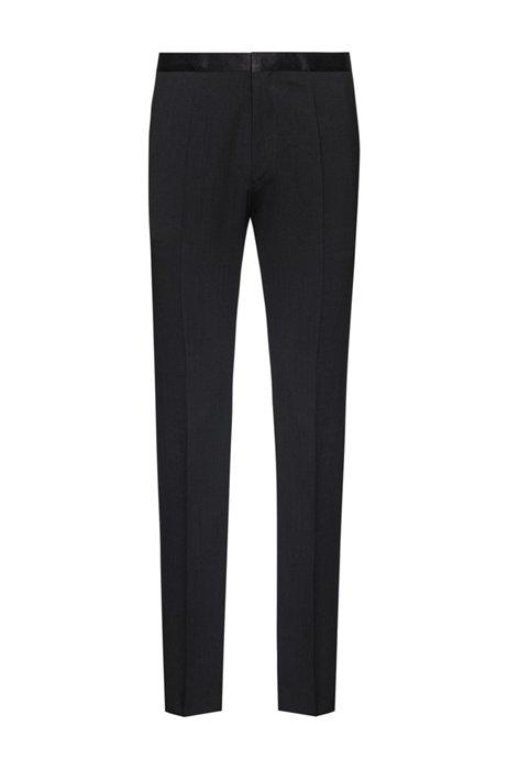 Pantaloni extra slim fit con inserti in seta, Nero
