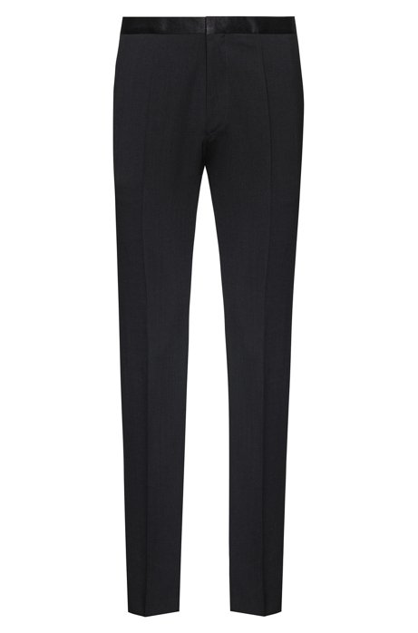 Extra-slim-fit tuxedo trousers in stretch virgin wool, Black