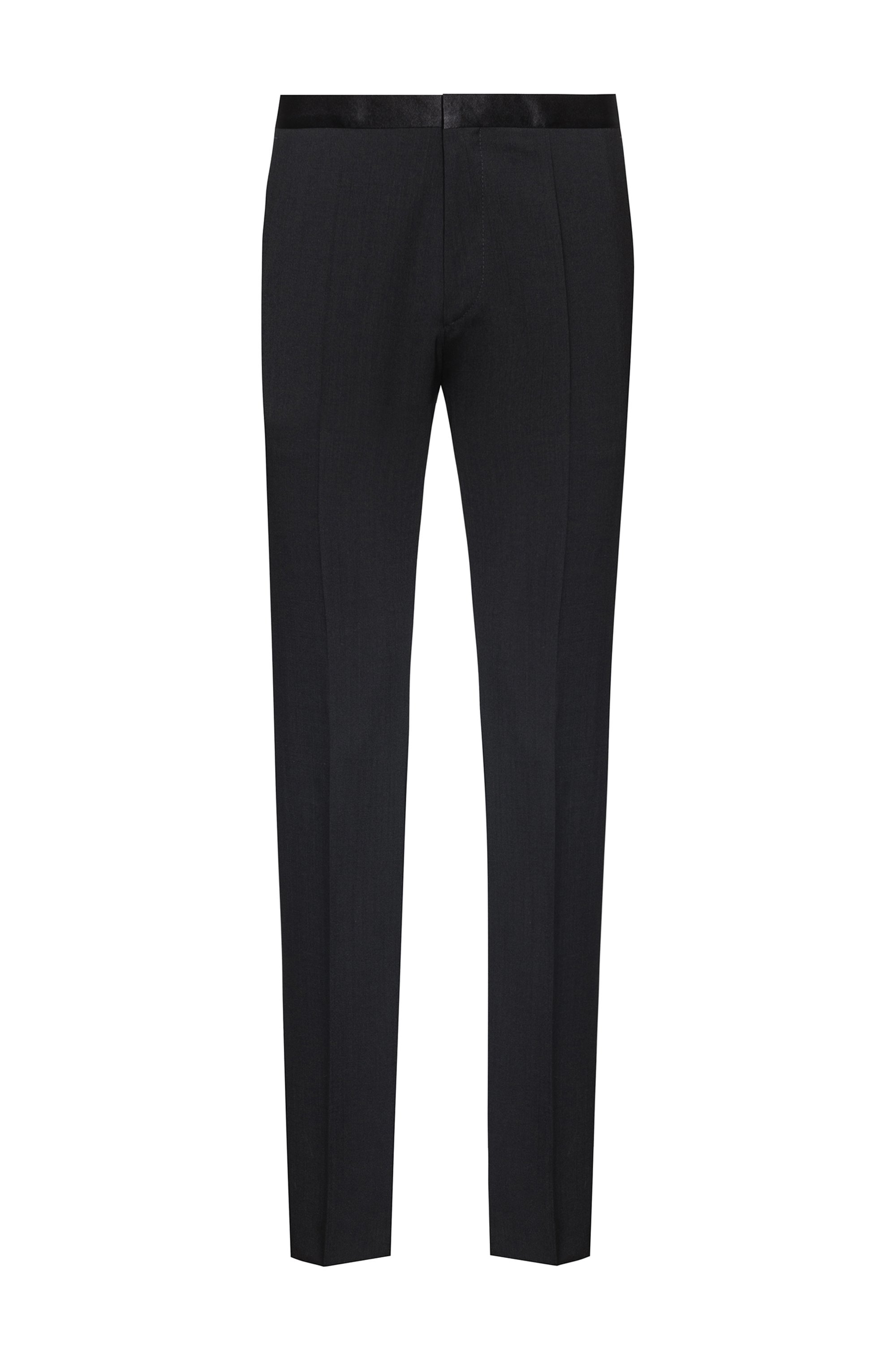 Extra-slim-fit trousers with silk facings, Black