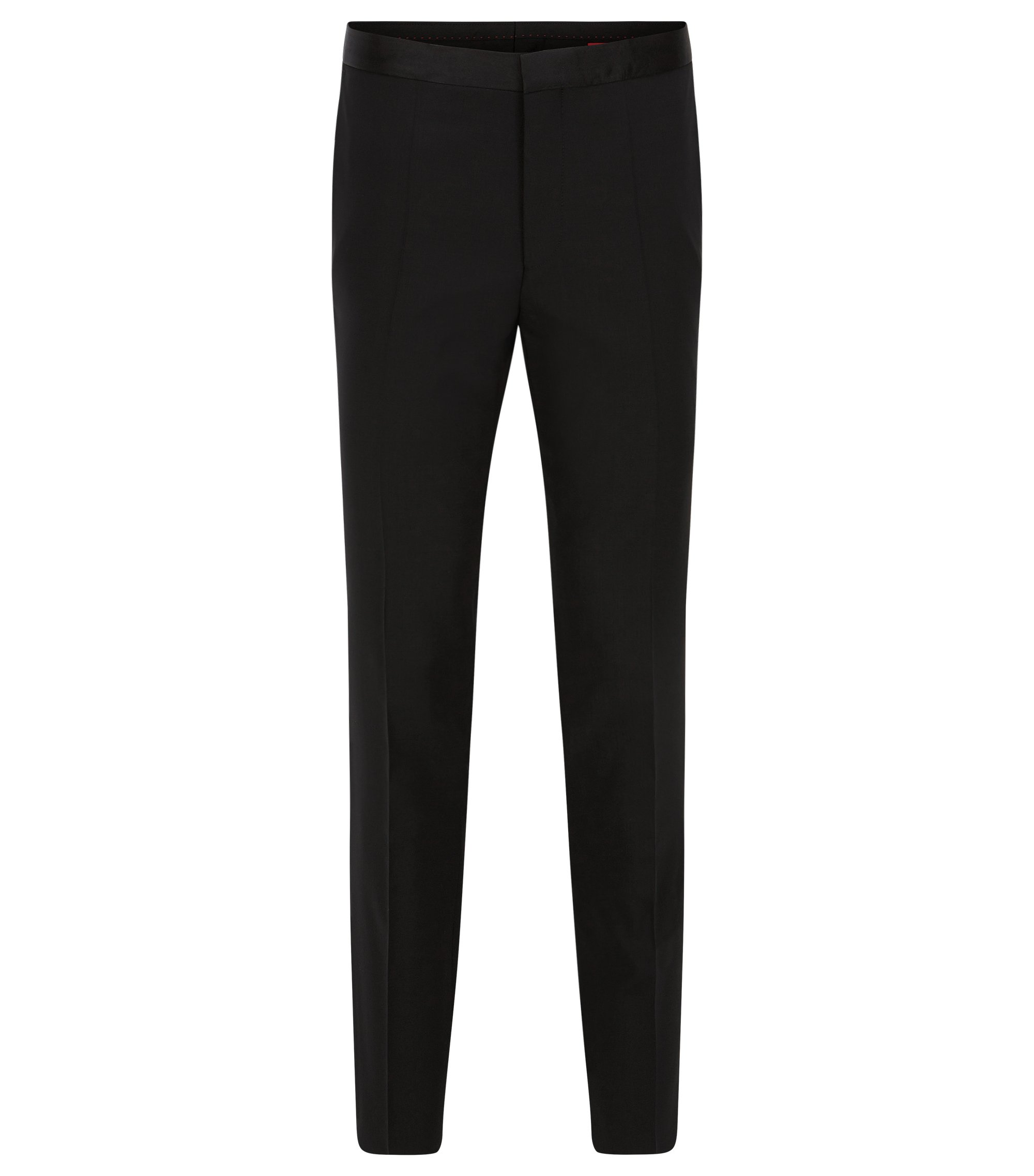 Pantalon de smoking à jambes slim en laine stretch , Noir