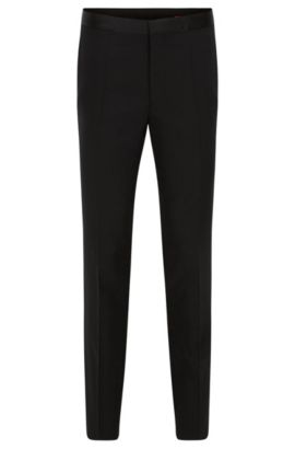 Slim-leg tuxedo trousers in stretch wool , Black