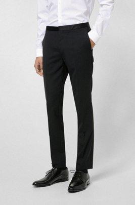 Pantalon Extra Slim Fit avec empiècements en soie, Noir