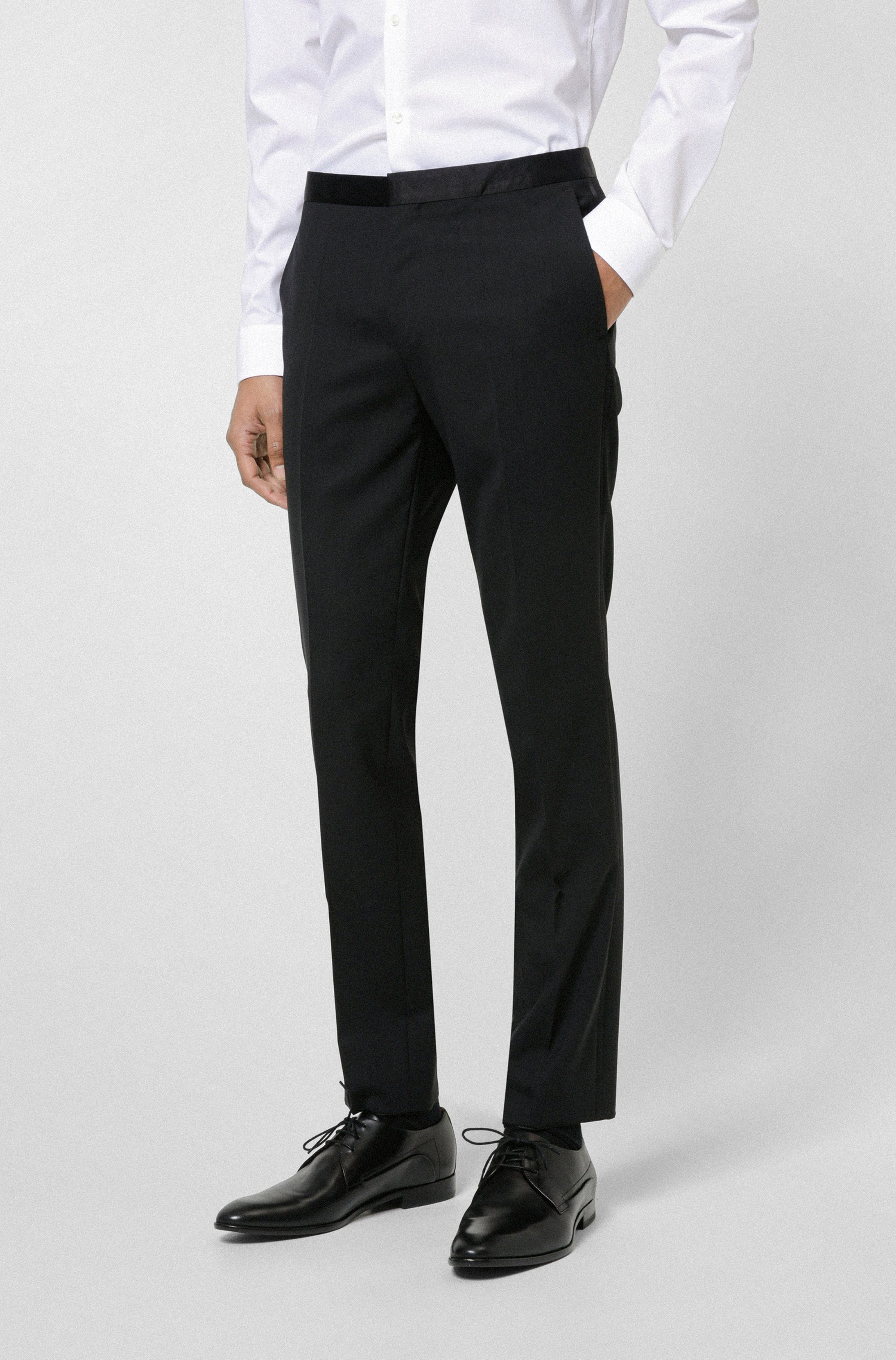 Extra-slim-fit trousers with silk facings