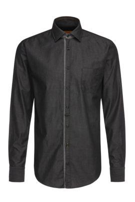 Camicia slim fit in cotone leggero: 'EslimE_1', Nero