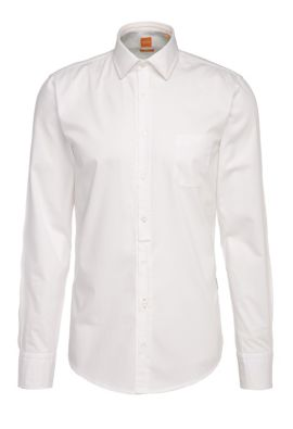 Slim-fit shirt in lightweight cotton: 'EslimE_1', White