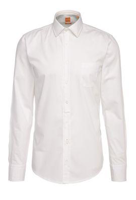 Chemise Slim Fit en coton léger: «EslimE_1», Blanc