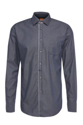 Slim-fit shirt in lightweight cotton: 'EslimE_1', Dark Blue