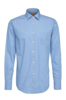 Slim-fit shirt in lightweight cotton: 'EslimE_1', Open Blue