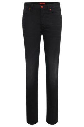 Jeans Skinny Fit en coton mélangé: «HUGO734», Noir