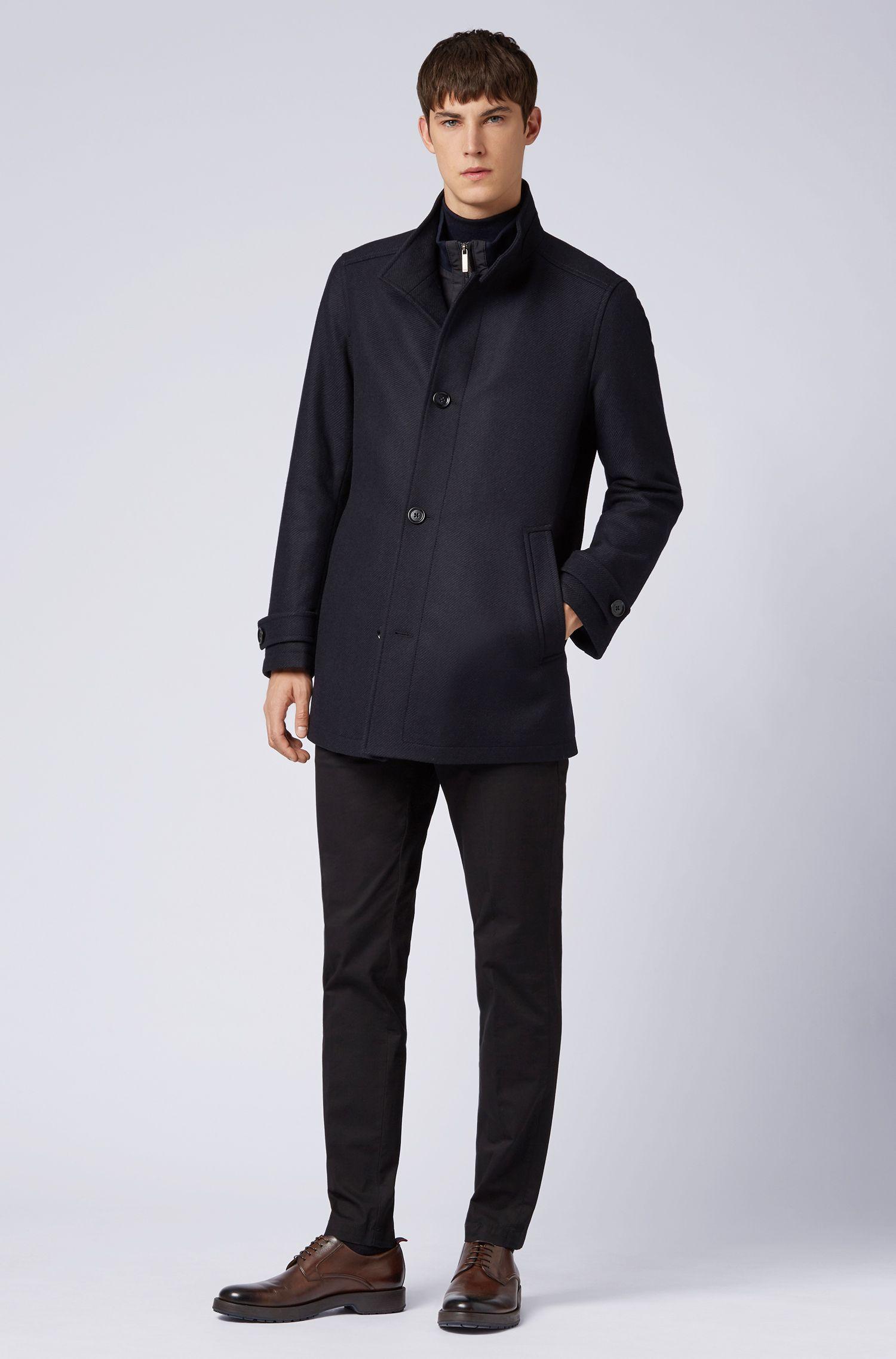 Cappotto regular fit in misto lana con gilet, Blu scuro