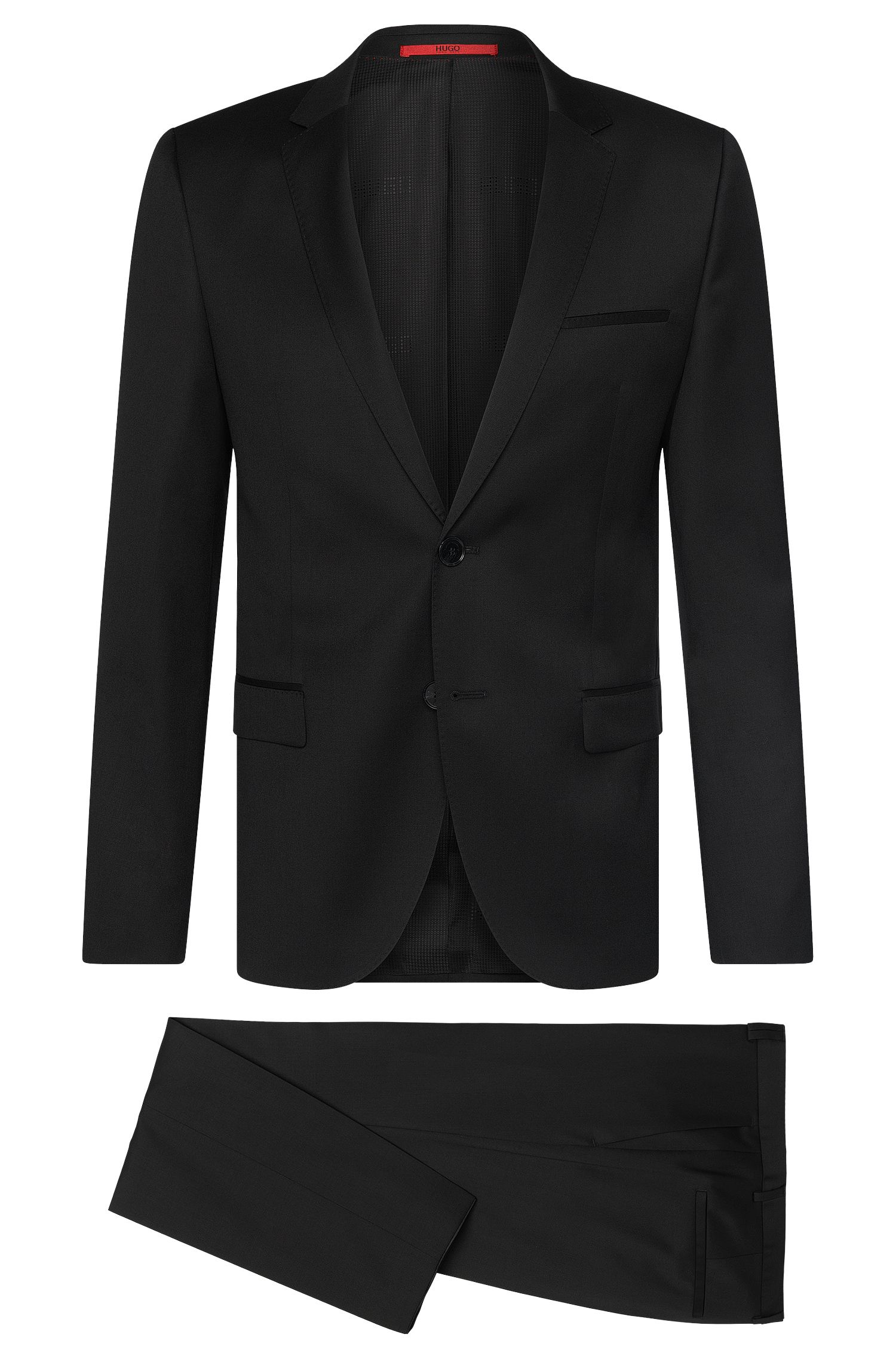 Plain slim-fit suit in pure new wool: 'Arti/Heilon'