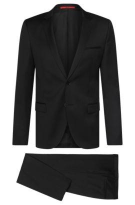 Costume Slim Fit uni en pure laine vierge: «Arti/Heilon», Noir