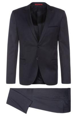 Unifarbener Slim-Fit Anzug aus reiner Schurwolle 'Arti/Heilon', Dunkelblau