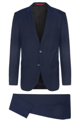 Regular-fit suit in pure new wool: 'C-Jeys1/C-Shaft1', Blue