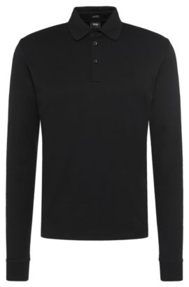 Regular-Fit Longsleeve Poloshirt aus Interlock-Baumwolle, Schwarz