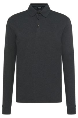 Regular-Fit Longsleeve Poloshirt aus Interlock-Baumwolle, Anthrazit