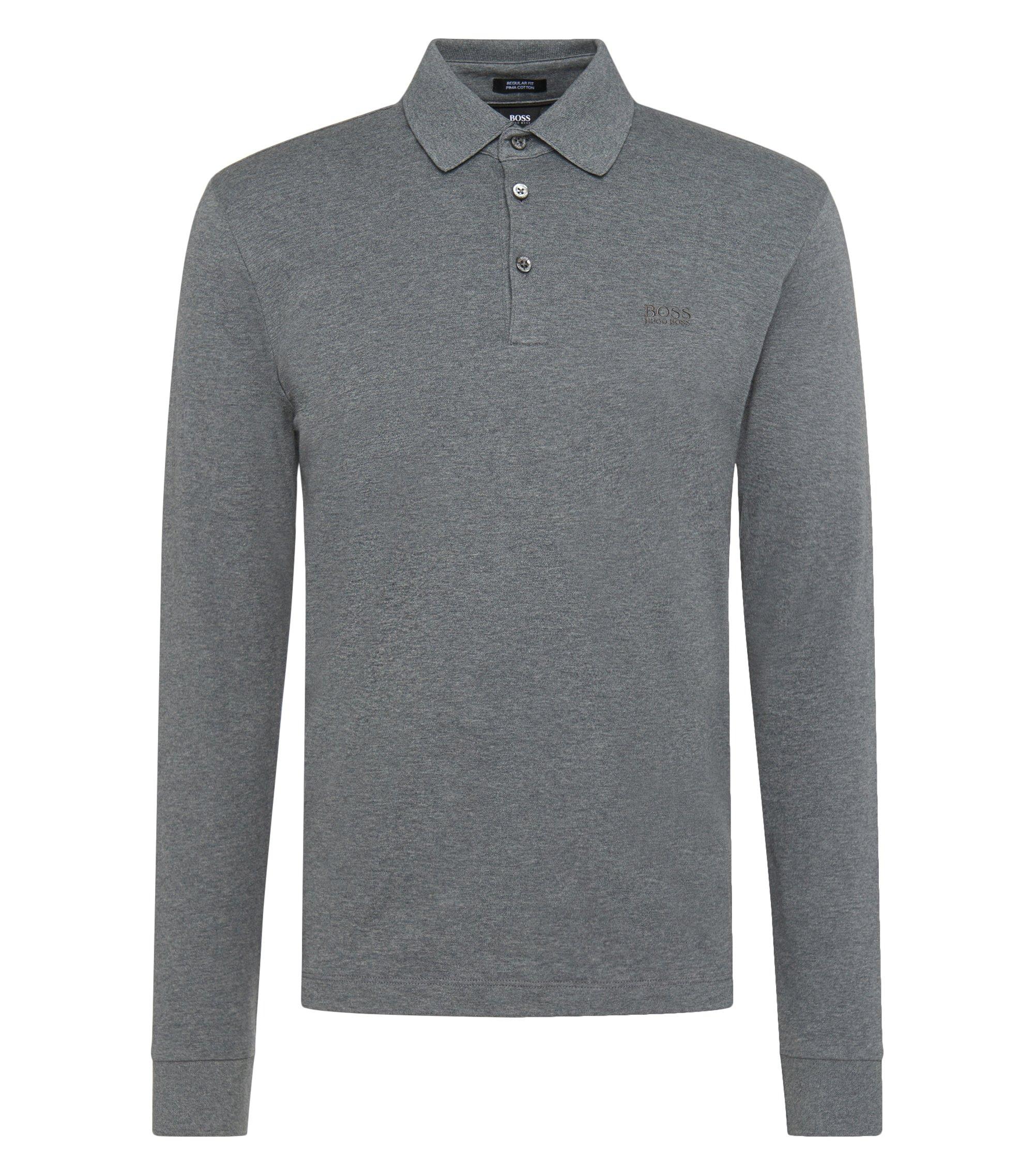 Regular-Fit Longsleeve Poloshirt aus Interlock-Baumwolle, Grau