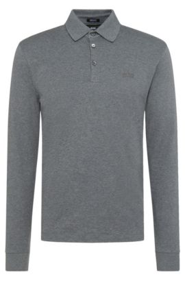 Polo Regular Fit en coton interlock, Gris