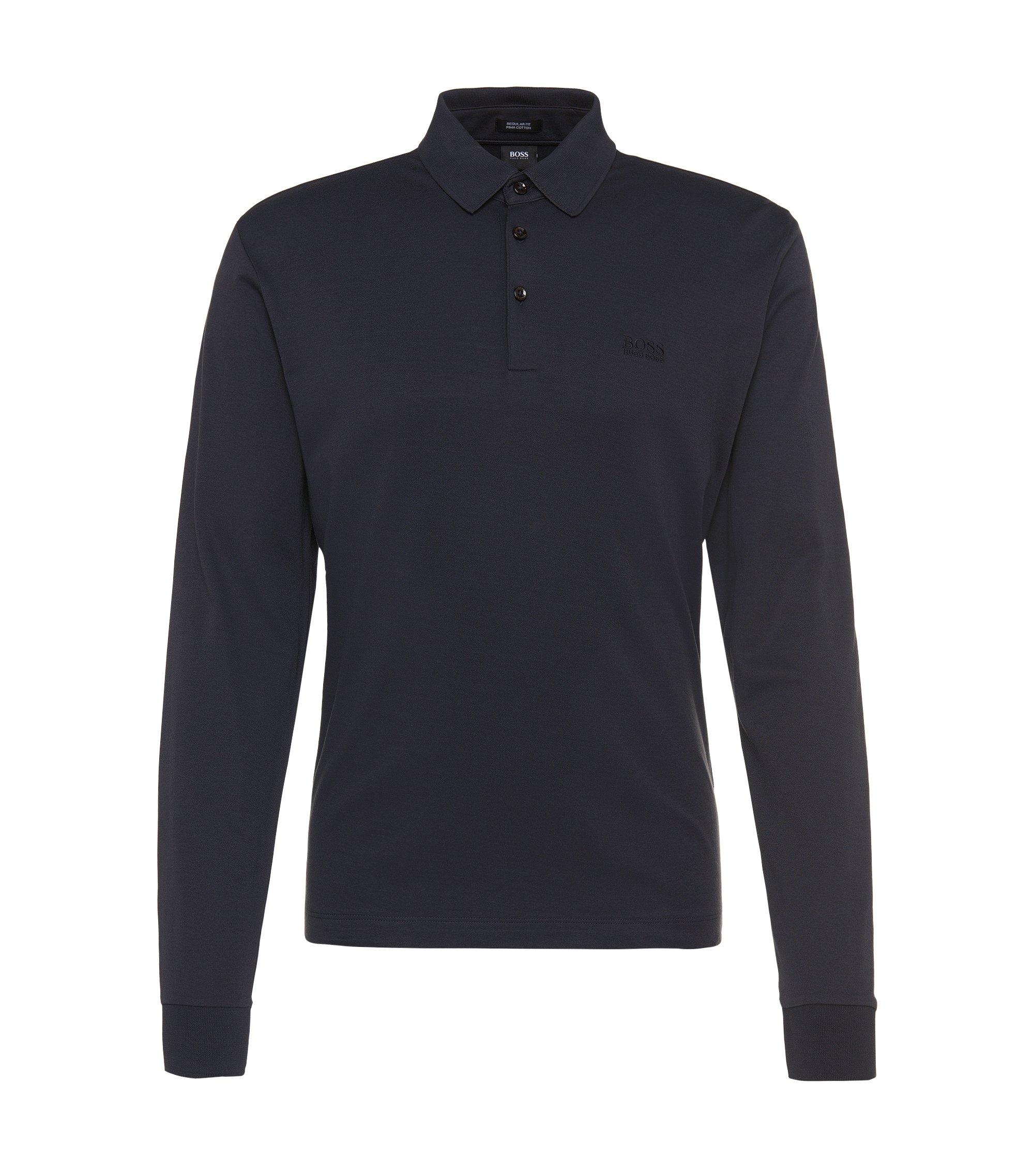 Polo regular fit in cotone intrecciato, Blu scuro