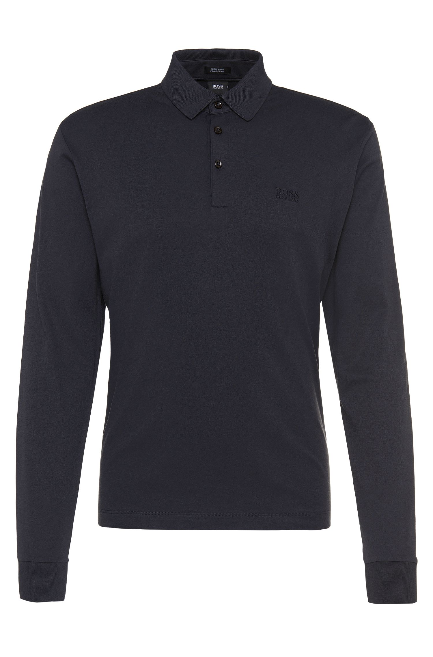 Regular-fit poloshirt met lange mouwen, van pimakatoen: 'Phillian'