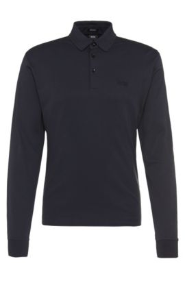 Regular-fit long-sleeved polo shirt in pima cotton: 'Phillian', Dark Blue