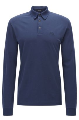 Polo Regular Fit en coton interlock, Bleu foncé