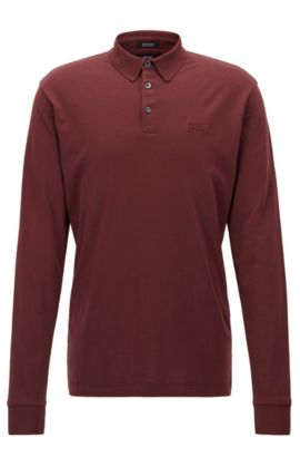 Polo Regular Fit en coton interlock, Rouge sombre