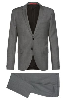 Costume Slim Fit finement chiné, en laine vierge : « Arti/Heilon », Gris
