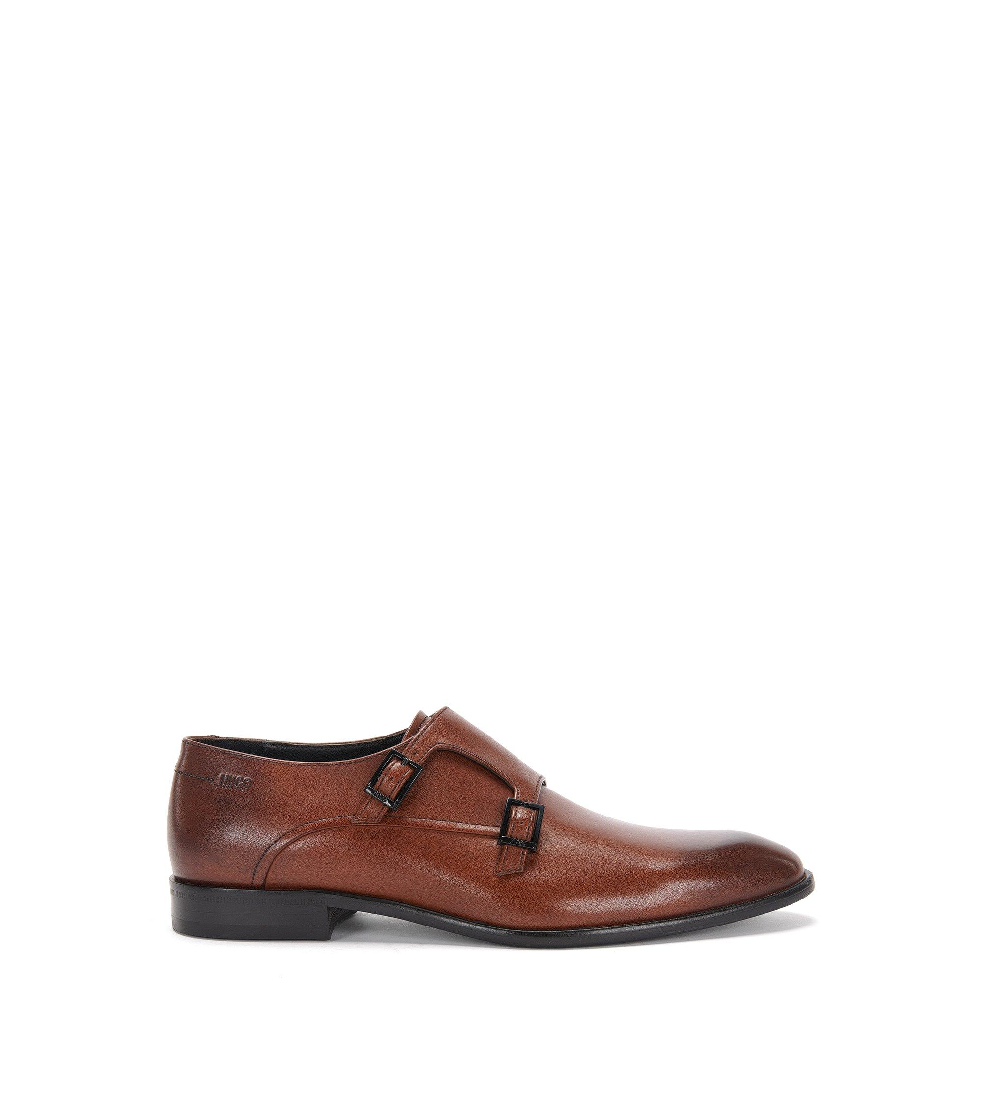 Chaussures double boucle en cuir poli: «Dressapp_Monk_bu», Marron
