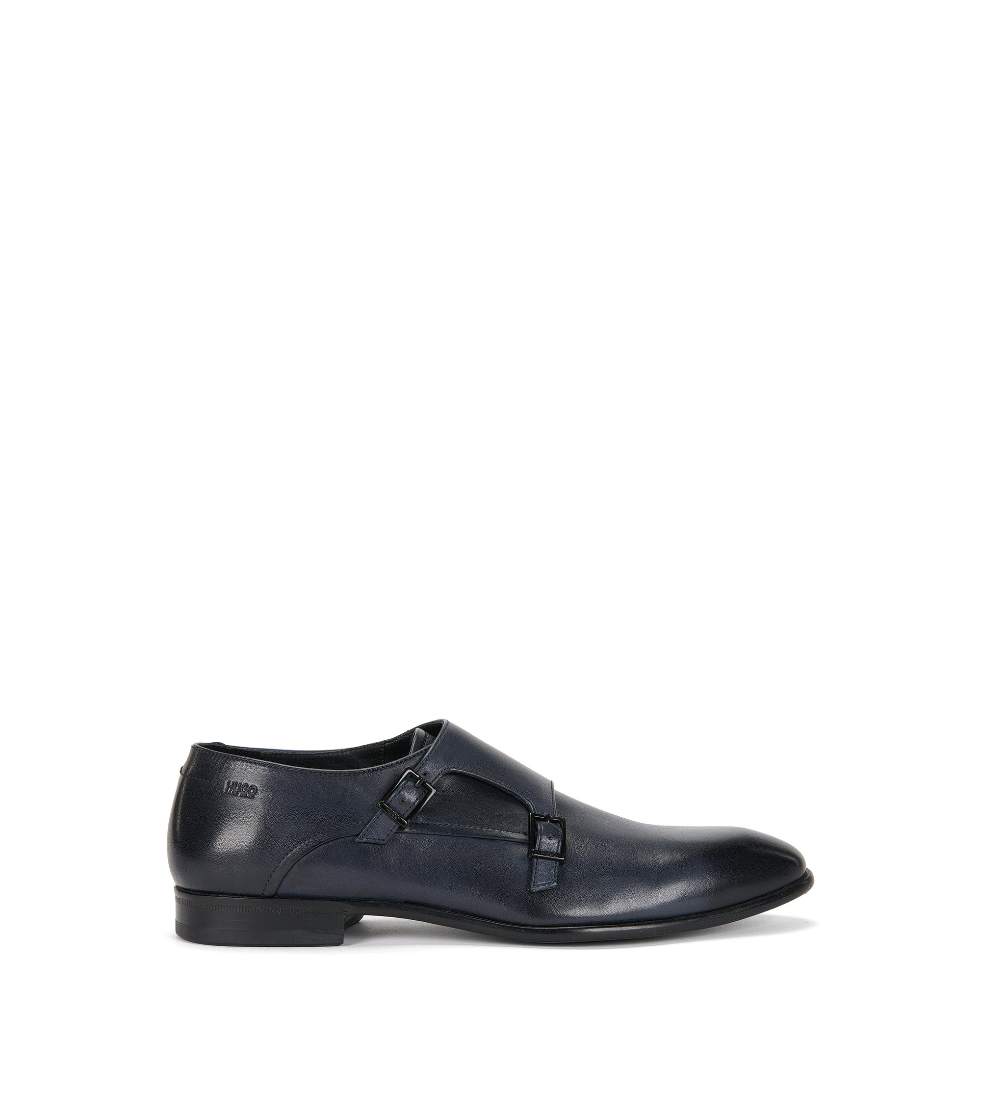 Double monk shoes in polished leather: 'Dressapp_Monk_bu', Dark Blue