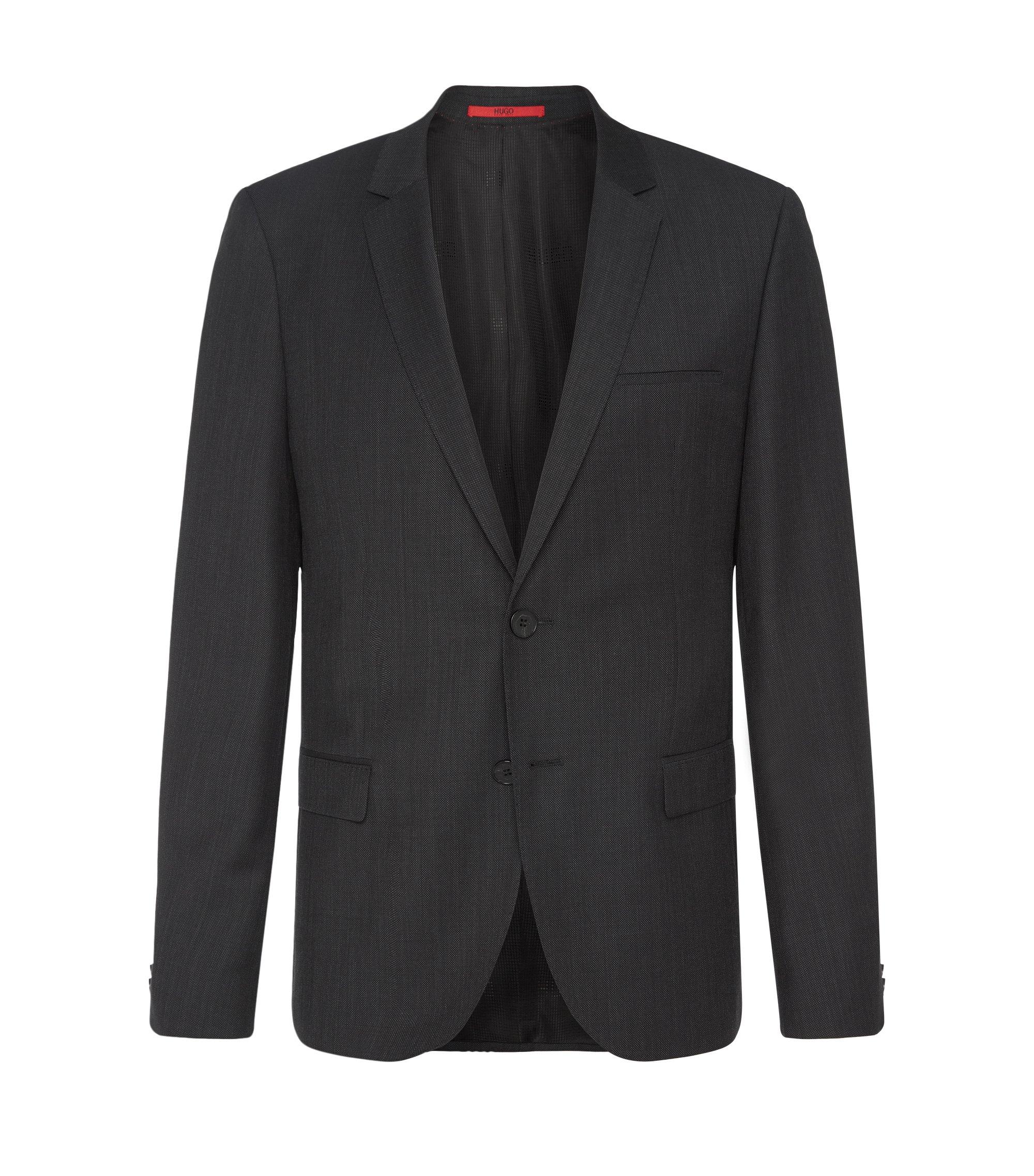 Giacca slim fit finemente strutturata in lana vergine: 'AlisterS', Nero