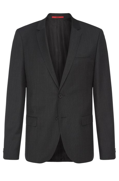 Finely textured slim-fit jacket in new wool: 'AlisterS', Black