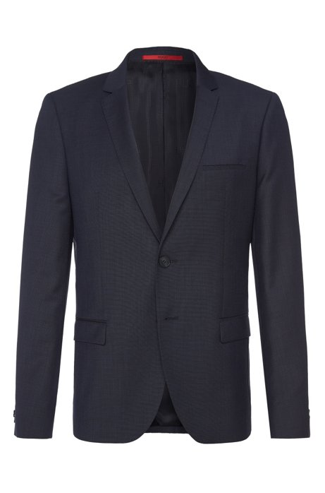 Finely textured slim-fit jacket in new wool: 'AlisterS', Dark Blue